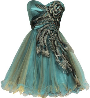 Turquoise  Metallic Peacock Embroidered Holiday Party short Prom Dresses. I have this exact dress in my closet...but it's floor length