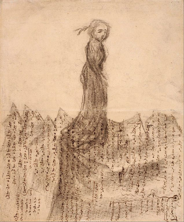 Woman in Mountains of Mathematical Manuscripts, 1883-1911,coal on paper, Malmö Konstmuseum Carl Fredrik Hill
