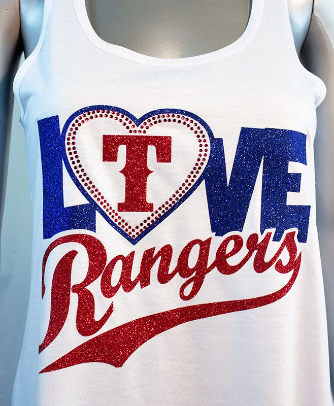 Love the Rangers glitter and rhinestone flowy style tank - baseball glitter tank - Texas Rangers by ShoutitOutApparel on Etsy