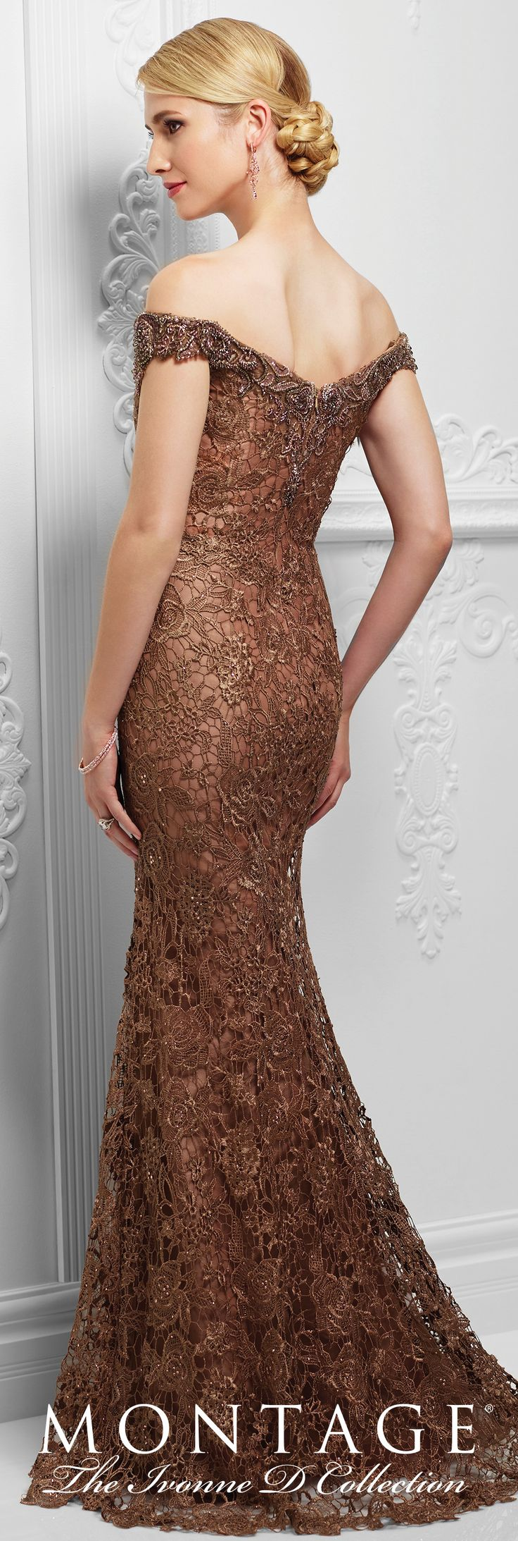 Ivonne D Exclusively for Mon Cheri - 117D71 - Off-the-shoulder tulle and embroidered lace slim A-line gown with front and back hand-beaded lace necklines, scalloped lace hemline, slight sweep train.Sizes: 4 – 20, 16W– 26WColors: Bronze, Wedgwood
