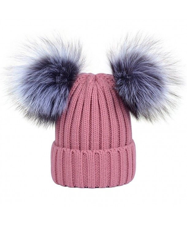 Girls Ski Beanie Hat With 2 Large Faux Fur Pom Pom/'s Childrens Knitted Warm Cap