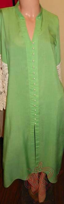 Green with pearl buttons