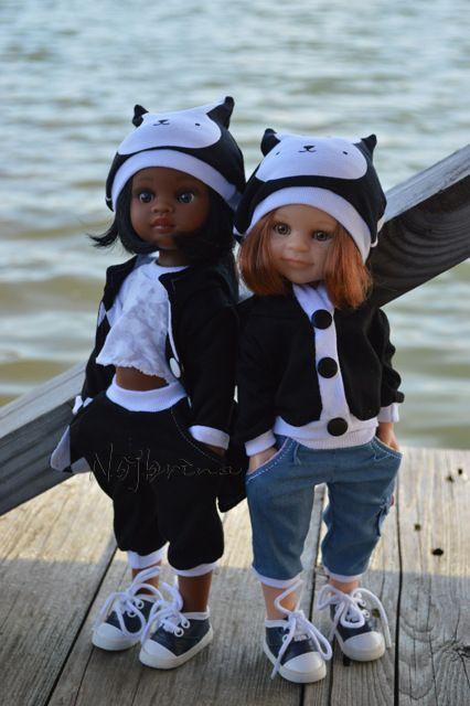 Черно-белый топик. Нора и Клепа от Paola Reina. / Куклы Паола Рейна, Paola Reina / Бэйбики. Куклы фото. Одежда для кукол