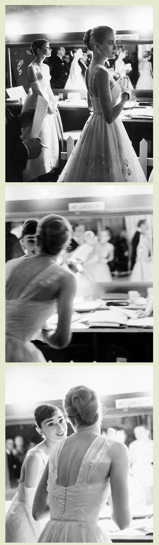 Audrey Hepburn and Grace Kelly waiting backstage at the RKO Pantages Theatre, during the 28th Annual Academy Awards, 1956.