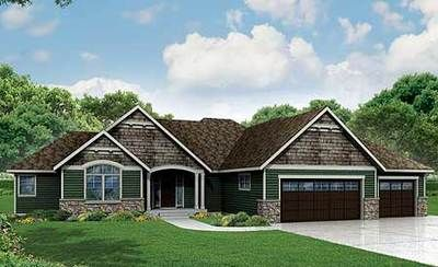 Craftsman Ranch Home Plan with 3 Beds - 72800DA thumb - 02