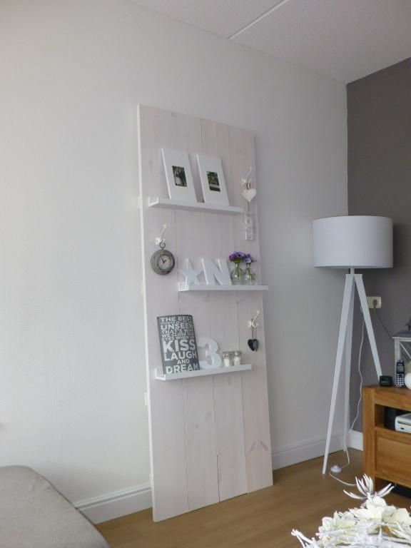 ....  great idea on creating shelving in a rental without damage to walls ( foam, polystyrene, etc. can be used on edge touching wall to prevent damage or marks)