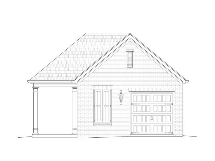 006p 0040 Pool House Plan With Kitchenette Full Bath Storage And 1 Car Garage Pool House Plans House Plans Pool House