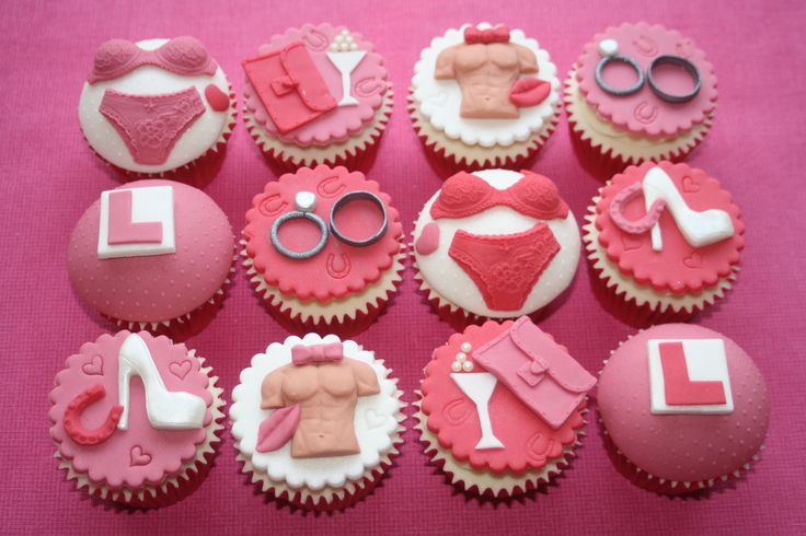 Hen Party Cupcakes by OH MY Sugar Pie. #henparty #pink #girly #lplates #pretty