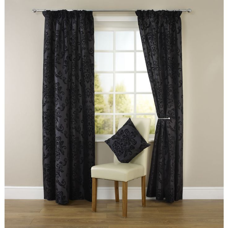 Wilko Pencil Pleat Damask Curtains Black 228cm X 228m At