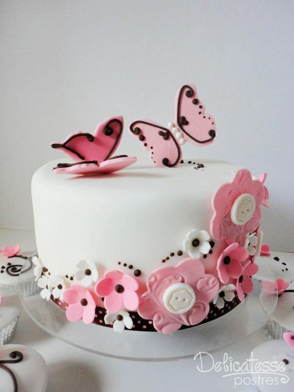 Pink Butterflies Buttons One Tiered Cake