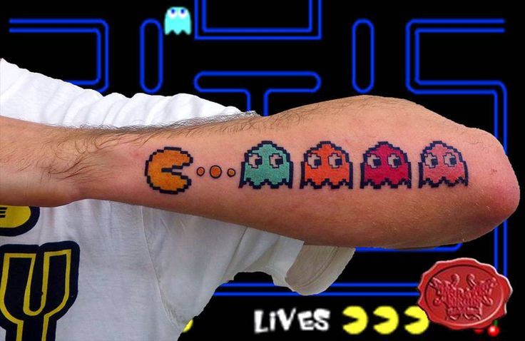 pacman tattoo  #pacman #pacmantattoo #engraved #circustattoo Engraved Circus Tattoo Parlour