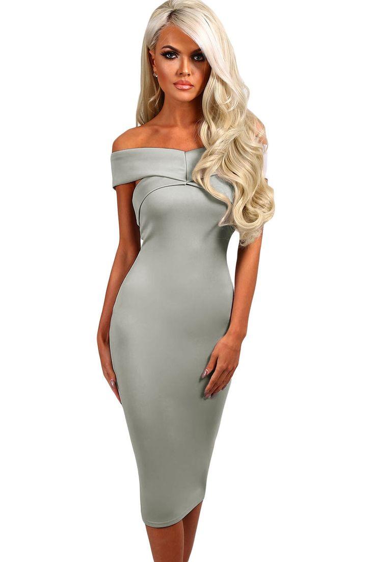 Sukienka szara midi ołówkowa odkryte ramiona