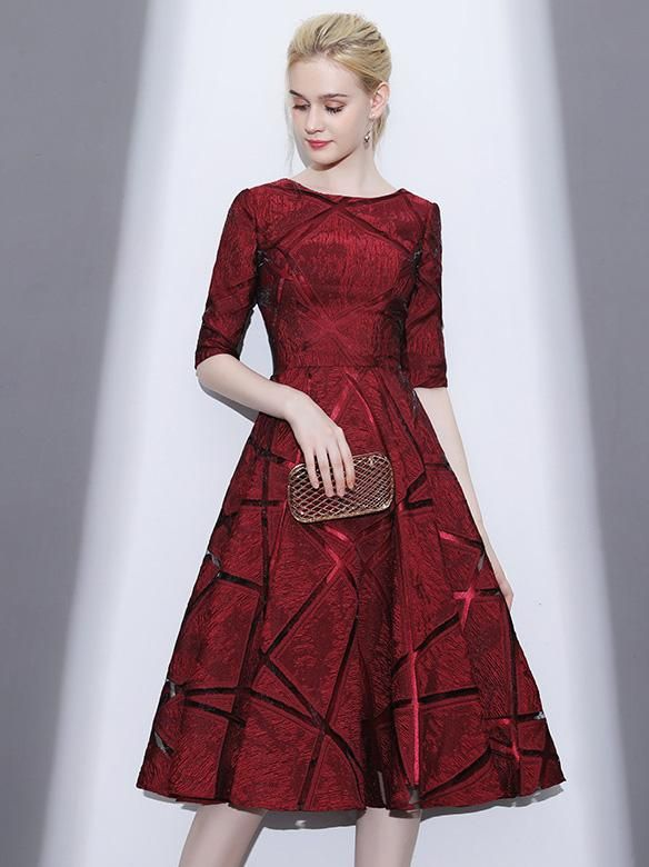 Elegant Waisted Midi Evening Dress