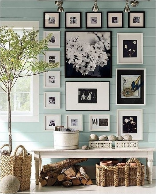 Black frames on light blue/green natural accents