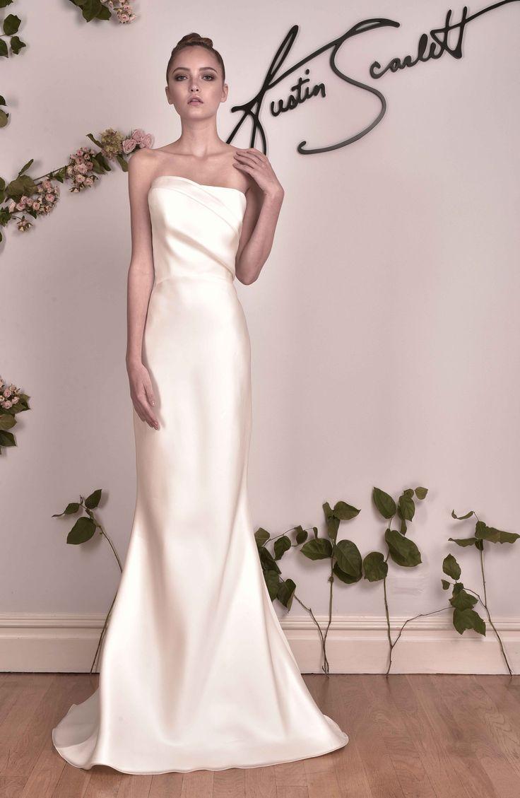 """Clairvoir"" by Austin Scarlett | NY Bridal Week. Photo: Courtesy of Austin Scarlett. Read More: http://www.insideweddings.com/news/fashion/discover-chic-cutouts-and-color-by-austin-scarlett-fall-2016/2591/"