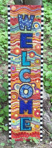 Mosaic WELCOME Sign. via Etsy.