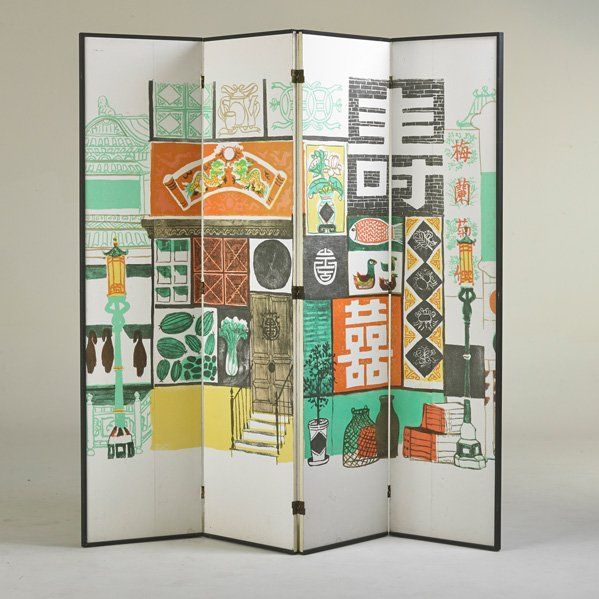 Anonymous; Painted Masonite and Wood Screen, 1950s.