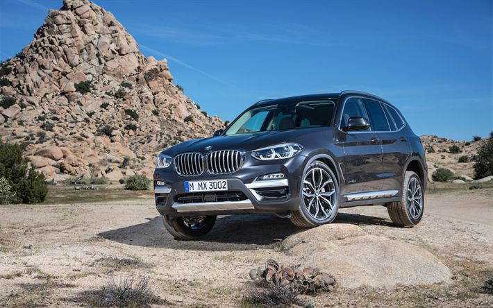 Download wallpapers BMW X3, 4k, offroad, 2018 cars, crossovers, new X3, german cars, BMW