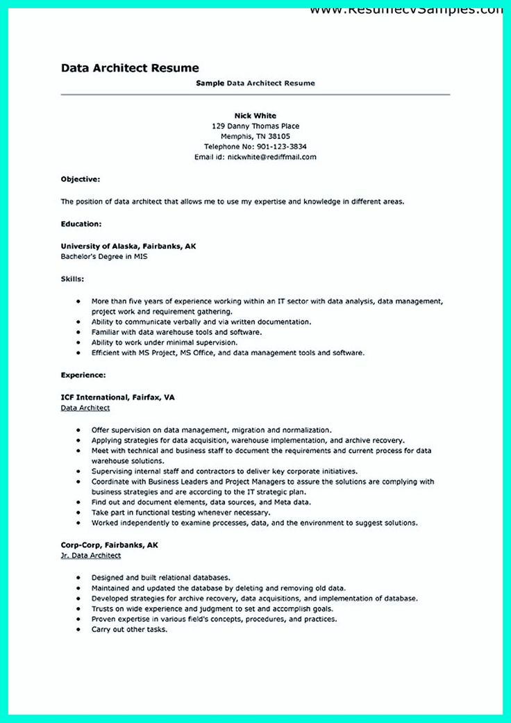 architect resume in the data architect resume one must describe