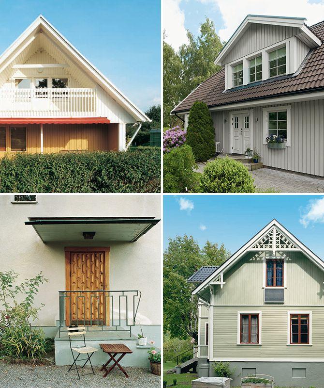 ängst upp till höger. På 80-talet kom verandan, takkupan och det vita knutarna tillbaka. 70-talets bruna kulörer fick ge vika. Längst ner till vänster. Gärdet i Stockholm är ett bra exempel på 30-talets funkishus. Fasaderna var i puts, ofta vita, svagt gult eller grått.