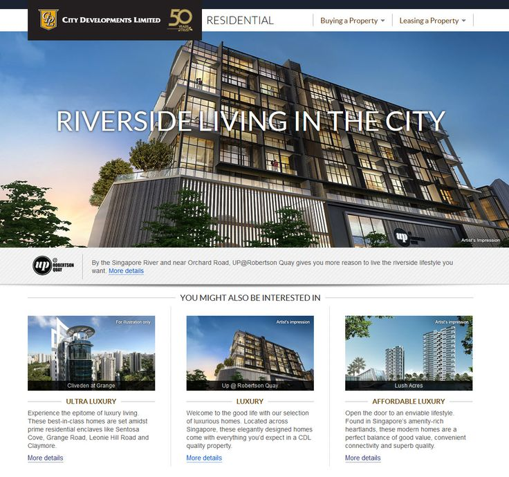 Website that consolidates all residential properties by City Developments Limited. www.cdlhome.com.sg