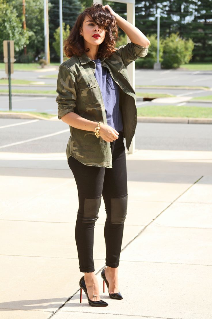 Military Shirt Black Legging With Leather Patch Http//momsmags.net | RttC | Pinterest | Patches ...