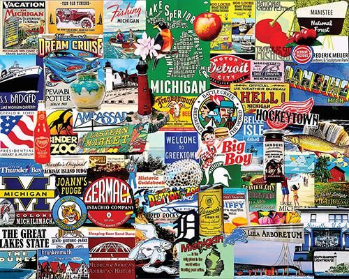 "I Love Michigan. The word Michigan is the French form of the Ojibwa word meaning ""large water"", so it's fitting that Michigan is known as ""The Great Lakes State"" among other titles. Its attractions abound on this colorful collage of advertisements by Charlie Girard, including the Leila Arboretum, Frankenmuth, the Gerald R. Ford Presidential Library & Museum, the National Cherry Festival in Traverse City, The Motor City (Detroit), the German Pistachio Company, L..."