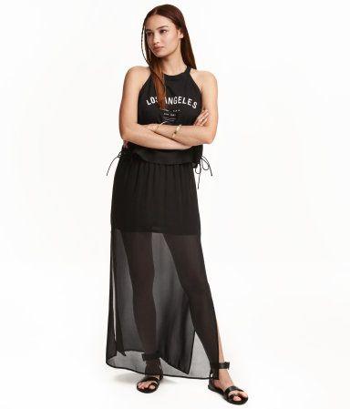 Long chiffon skirt with high slits at sides