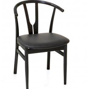 Spisebords stol med læder sæde, sortlakeret bøgestel.