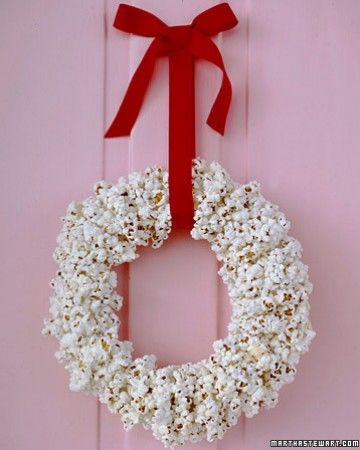 Popcorn garlands are nothing new, but this hand-strung wreath brings the idea full circle. Leftovers offer a welcome excuse for a holiday movie marathon.
