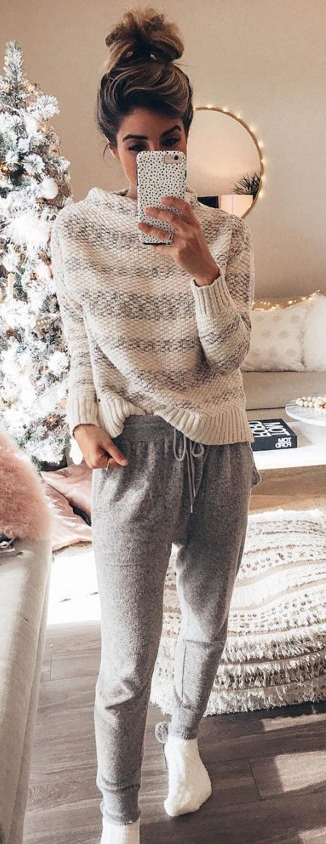 #winter #outfits  white and black striped knit sweater and gray drawstring pants