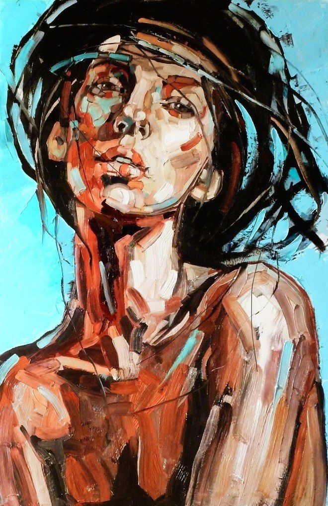 Artist: Anna Bocek, 2011 Summer Wind Series {contemporary female head wide brush woman face portrait painting} Bold !!