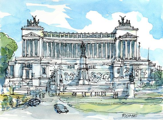 Rome 12 x 9 art print from my original watercolor by AndreVoyy