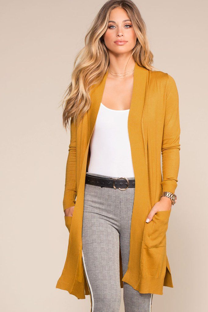 dfdd4c4ca2 This is the perfect cardigan for winter or fall! It s lightweight and cozy  at the same time! Yellow and mustard are really trendy colors so you ll ...