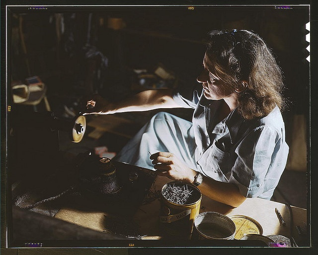 Hollem, Howard R., photographer.    Formerly a sculptress and designer of tiles, Dorothy Cole converted her basement into a workshop to tin plate needles for valves for blood transfusion bottles prepared by Baxter Laboratories, Glenview, Ill. She turns in her profits to war bonds to provide a college education for her young nephew    1942 Oct.