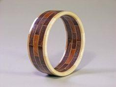 Woodturning | ... to Bangle Bracelet Segmented Woodturning - Brick Design on Etsy