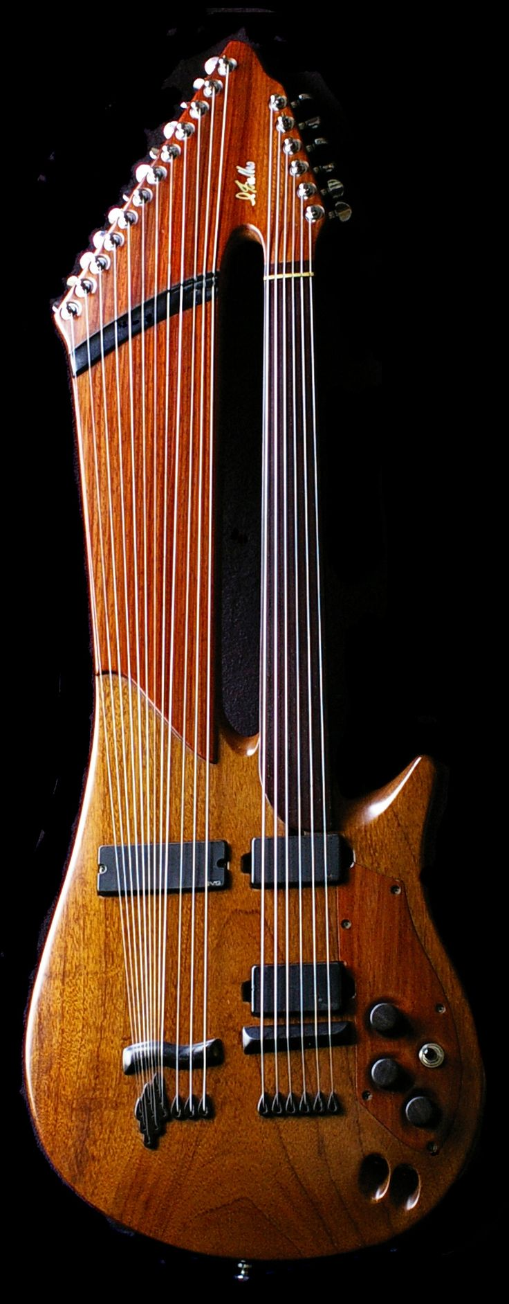 electric harp guitar... like the string-end holders and the inset wooden control…