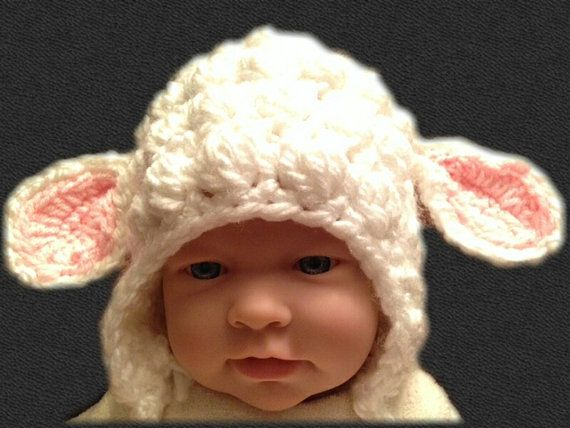 Crochet Jamie Stitch : Photography prop crochet lamb hat/Bobble stitch crochet lamb hat/girl ...