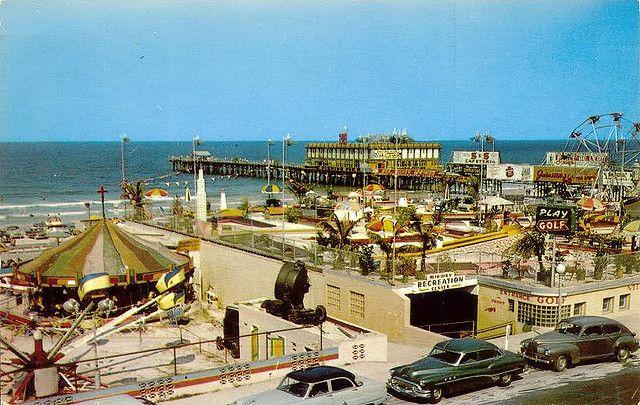 Vintage Florida Beach 1950s Daytona Amut Park Rides Postcard A