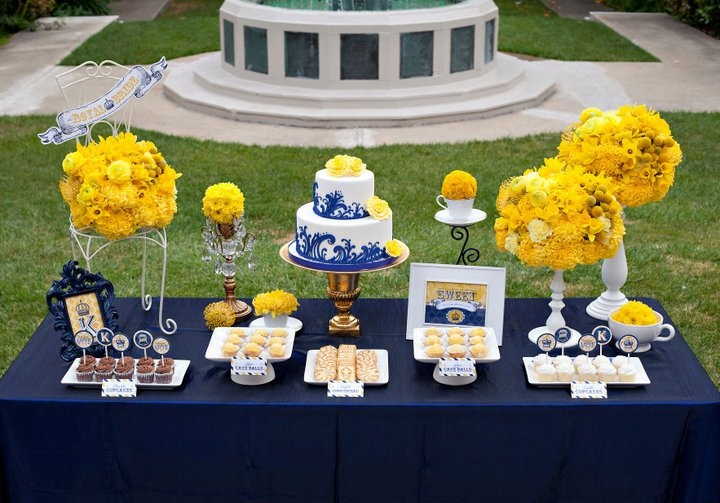 Blue and yellow decorations grad party pinterest