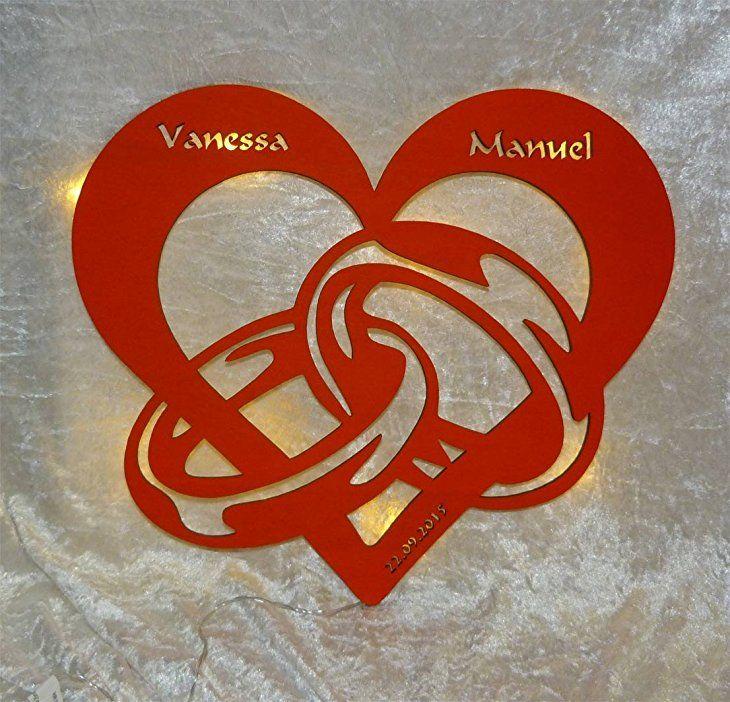 Schlummerlicht24 3d Aus Holz Led Licht Schlaf Zimmer Lampe Motiv Design Herz En Ring Geschenk Fur Partner Valentinstag Geschenk Mann Valentinstag Uberraschung