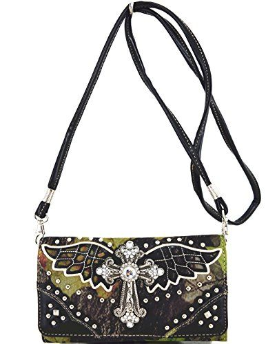 Blancho Bettwäsche Womens [Wing Cross] PU Leder Wristlet Wallet Zipper Geldbör…