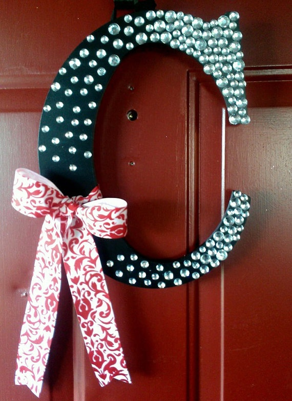 Blinged out Black Letter C by CountryChicDecor on Etsy, $30.00
