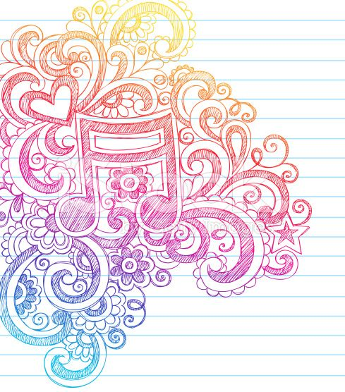 Music Note Sketchy Notebook Doodles arte vettoriale stock royalty-free