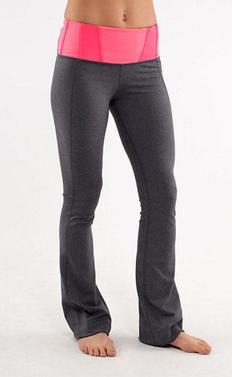 Lululemon yoga pants... so cool - has drawcords at hem to adjust the length. I want these!