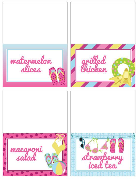 Pool Birthday Party FOOD LABELS Printable by getthepartystarted