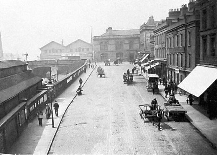 Station Street, Nottingham, looking towards Carrington Street, c 1890's.
