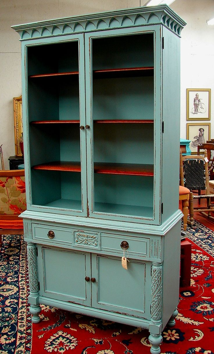 Reclaimed Antique Covington Blue Robin Egg Paint Distressed China Cabinet Cupboard Bookcase Linen Press. $795.00, via Etsy.