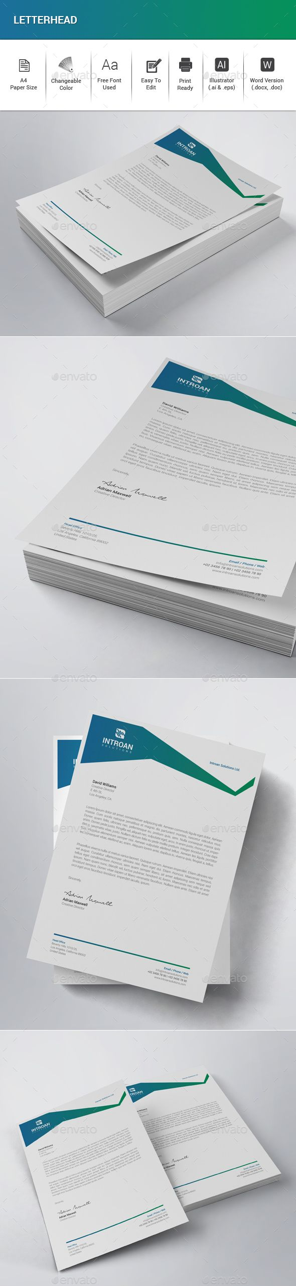 Letterhead Features:  • Illustrator (.ai & .eps) • MS Word Included (.docx & .doc) • Very Easy to Edit • Page size A4 (210×297mm) • Bleed 0.25 inch • Only Free Fonts Used • CMYK, 300DPI, Print Ready