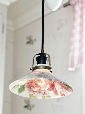 DIY Découpaged Light - Country Living: Crafts Ideas, Lampshades, Lamps Shades, Lights Fixtures, Light Fixtures, Lights Shades, Country Living, Decoupage Lights, Diy
